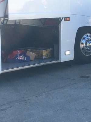 Austin Goetsch, a Brewers' fan, took a photo of the Chicago Cubs' team bus. You can see they stocked up with New Glarus beer. Goetsch works at the stadium on game days and saw the beer as he was leaving Wednesday's game.