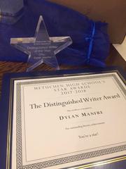 Dylan Manfre received a prestigious STAR award from Metuchen High School.