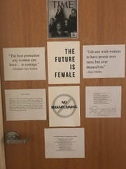 "A cell phone photo obtained by the Sun-News shows a staff attorney's door in June 2018, decorated with feminist quotations and a ""No Mansplaining"" sign."