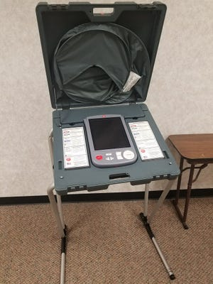 Example of voting booth currently used in Taylor County elections.