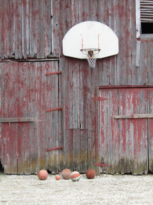 An Old Barn A Basketball Rim A Father Two Kids An
