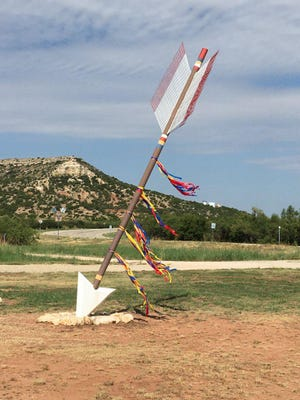 Quanah Parker Trail Arrow in Gail, Texas, honoring Quanah's last encampment as a freely roving Kwahada warrior in 1875 prior to accepting Col. Ranald S. Mackenzie's surrender orders.  Decorated for Quanah Parker Day by the Borden County Historical Commission, Sept. 14, 2019.