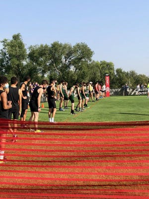 The boys runners lineup at the start of the Pueblo Central cross-country invite at Elmwood Golf Course on Saturday, Sept. 19, 2020.