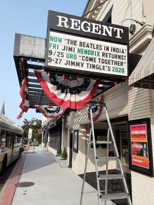 The marquee still lists upcoming events, but no crowds will be permitted into the Regent Theatre for shows until further notice due to the pandemic.