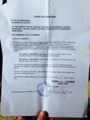 This photo, posted by Charles C. Johnson via Twitter, alleges to show a subpoena for Johnson to appear before the Lauderdale County grand jury on Sept. 22.
