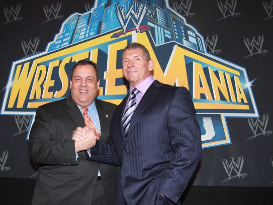 Former Gov. Chris Christie (left) and WWE Chairman