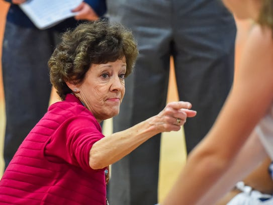 Jackson Academy head coach Jan Sojourner gives her