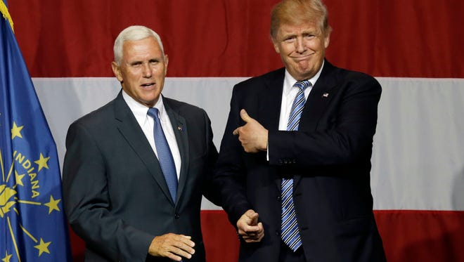 Indiana Gov. Mike Pence joined Republican presidential candidate Donald Trump at a rally Tuesday, July 12, 2016, in Westfield.