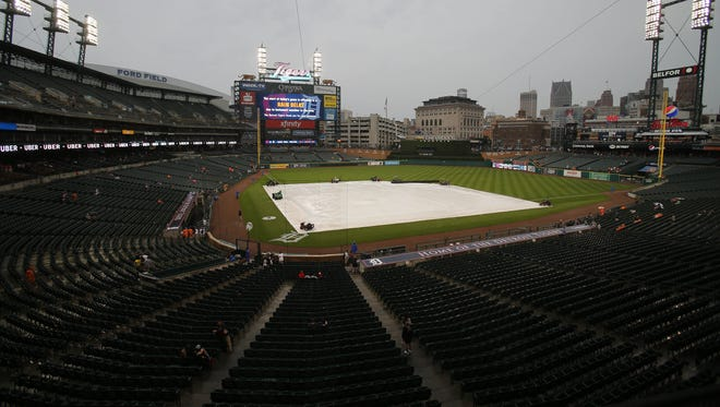 The New York Yankees game against the Detroit Tigers was rained out Sunday, April 15 at Comerica Park in Detroit.