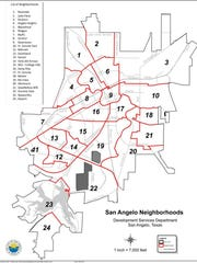 The City of San Angelo provides helpful map and information about the 24 different neighborhoods in the city. For more information: visit http://www.cosatx.us/departments-services/development-services/neighborhoods