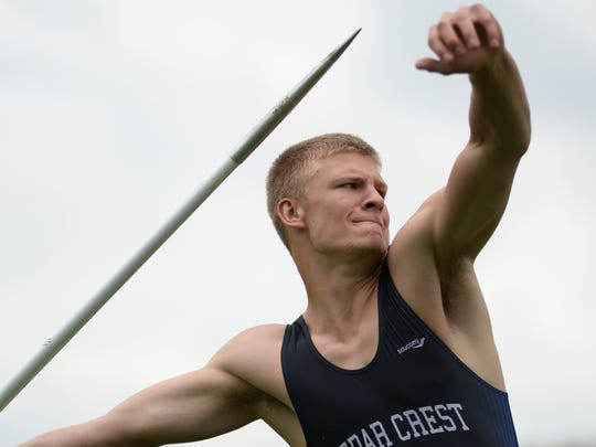 Cedar Crest's Evan Horn will be looking to defend his Class AAA javelin title at the District Three Championships.