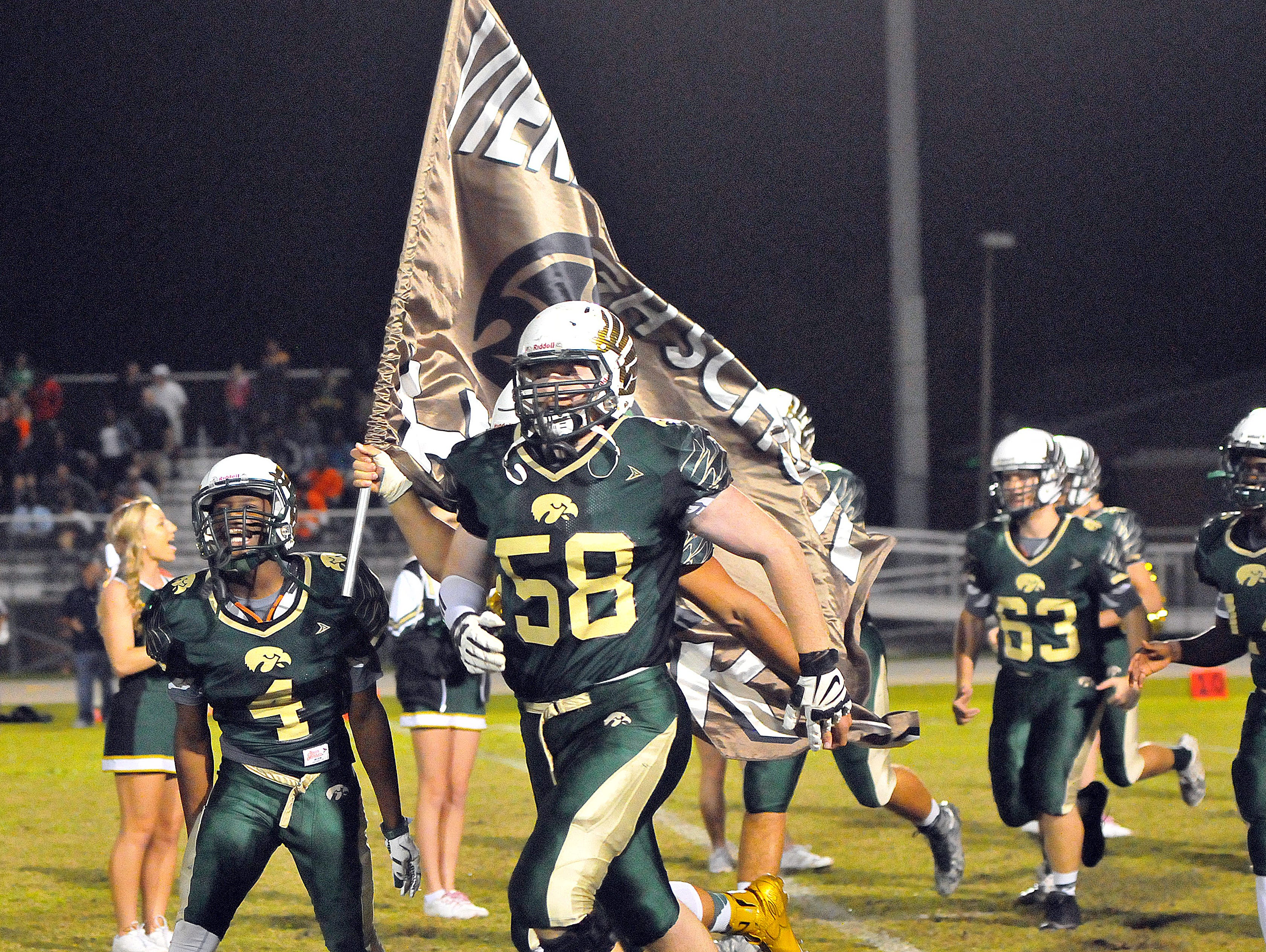 Viera High players take the field for Friday nights regional finals held at Viera High School stadium.