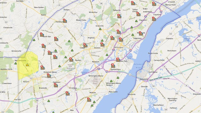 Delmarva Power outages map at 7:15 p.m. Saturday