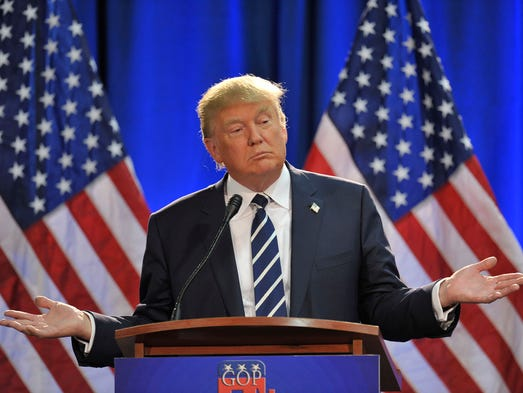 Donald Trump speaks to a sold-out crowd   at the Birch