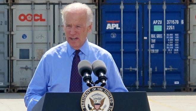 Vice President Biden speaks during a visit to the Port of Charleston in South Carolina.