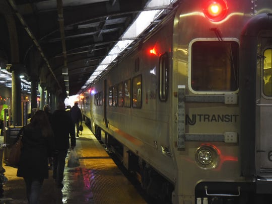 NJ Transit trains about to leave  the station in Hoboken