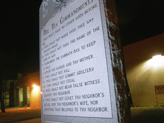 The Ten Commandments monument outside Bloomfield City Hall is owned by the Four Corners Historical Monument Project.