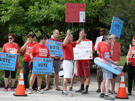 People protest Rehoboth Beach's proposed pool ordinances Friday at City Hall before a Rehoboth Beach Board of Commissioners meeting.