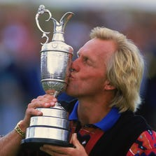 ST GEORGES - 18 JULY:  Greg Norman of Australia kisses the Claret Jug after winning the British Open at Royal St Georges in Sandwich, Kent, England on July 18, 1993.
