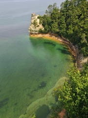 Miners Castle is a notable formation in Pictured Rocks National Lakeshore in Michigan's Upper Peninsula.