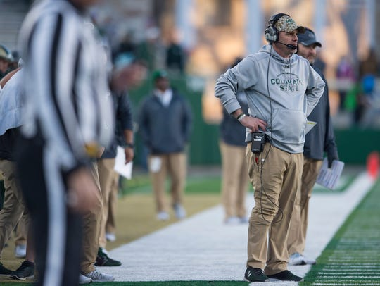 CSU coach Mike Bobo watches the Rams during a game