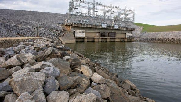 Walter Bouldin Dam near Wetumpka, Ala. is shown on