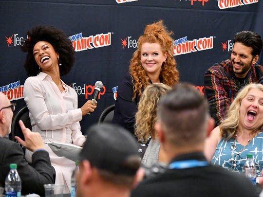 "Sonequa Martin-Green, Mary Wiseman, Shazad Latif and Gretchen J. Berg speak during the ""Star Trek: Discovery"" press conference at Madison Square Garden during New York Comic Con 2017."