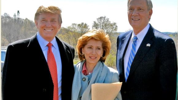 Donald Trump, State Parks Commissioner Bernadette Castro and Gov. George Pataki appear at an April 2006 event announcing Trump's land donation.