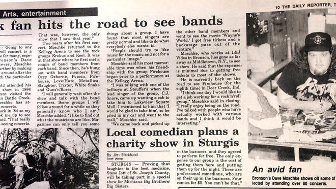 Dave Moschke, a former Bronson resident, was featured in a 1992 Daily Reporter article for his love of following the music.