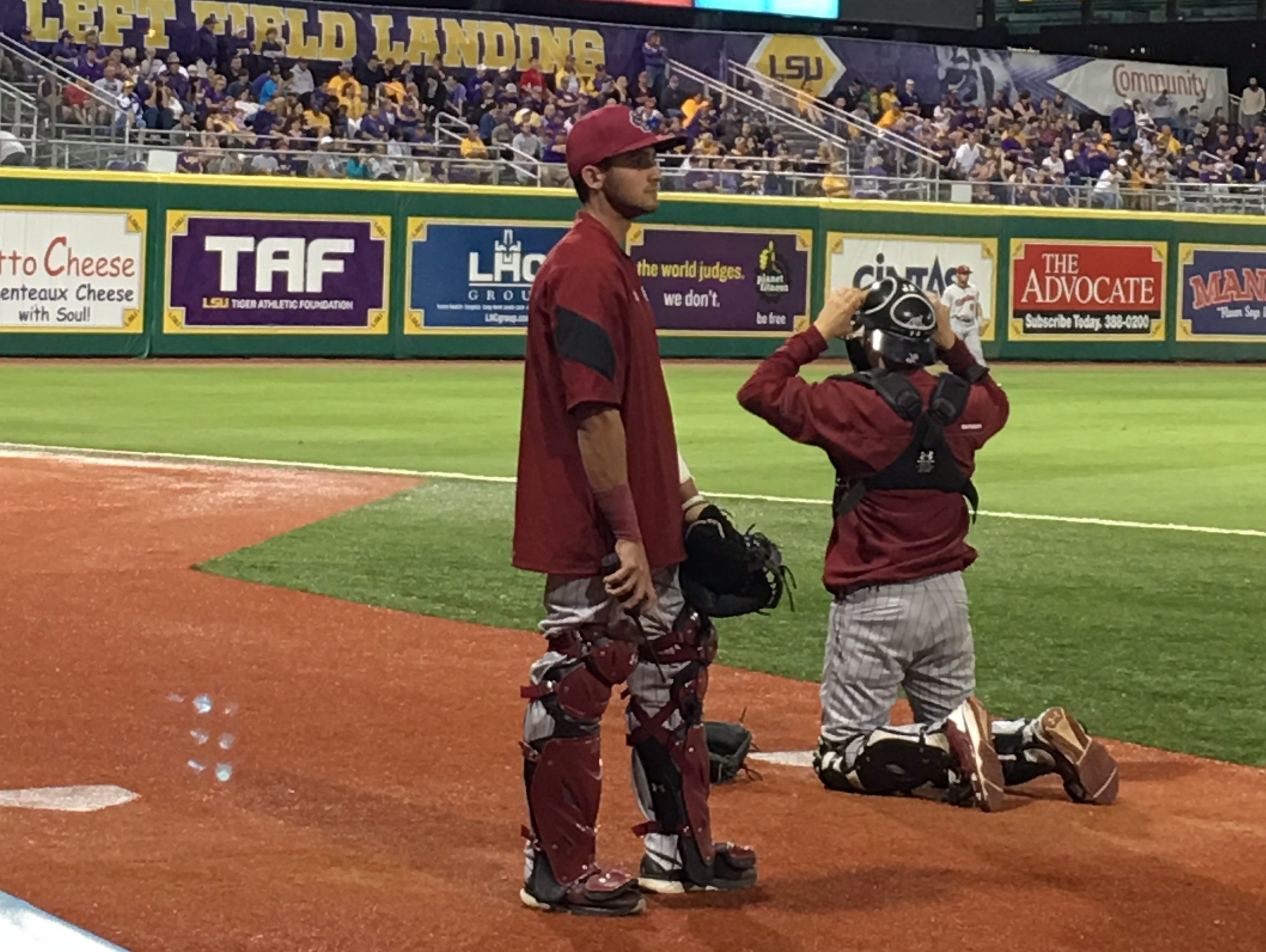 University of South Carolina bullpen catcher John Hawkins, a 2013 St. Joseph's Catholic School graduate, takes it all in during the Gamecocks' 5-2 loss at LSU May 6 in Baton Rouge, Louisiana.
