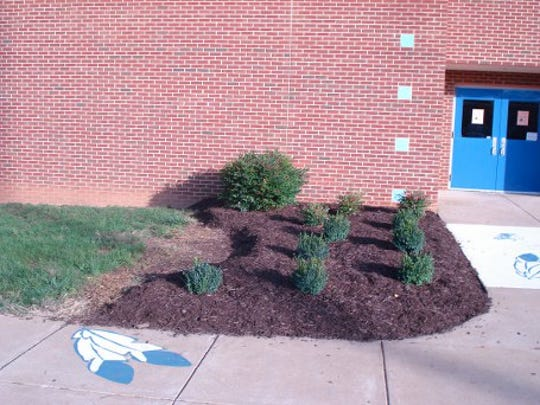 Painting the feathers on the sidewalk and adding mulch
