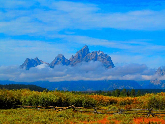 Wyoming wonder: Clouds hover around the Grand Tetons