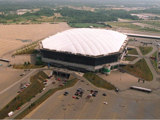The Silverdome in Pontiac with the surrounding land