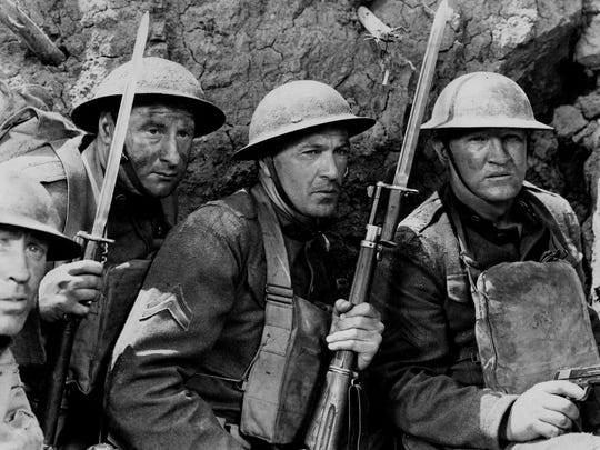 "Gary Cooper, center, plays the role of Alvin C. York, a heroic World War I soldier from Tennessee, in the 1941 classic ""Sergeant York."""