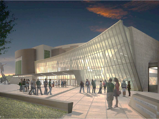 A rendering of what the Hall of History exhibit entrance at Michigan State University's Breslin Center will look like once completed. The project is expected to be completed by Aug. 2017.