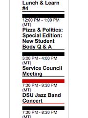A screenshot of March 6, 2018, from DSU's campus calendar.