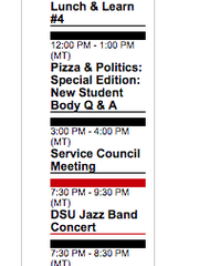 A screenshot of March 6, 2018, from DSU's campus calendar.