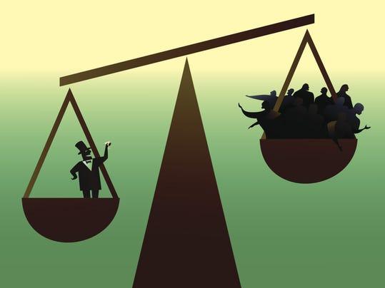 Vector illustration of social disparity