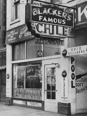 D.C. Blacker's Famous Chile had four locations including this one at 16 W. Ohio St. The restaurant served variations of chili and hot tamales.