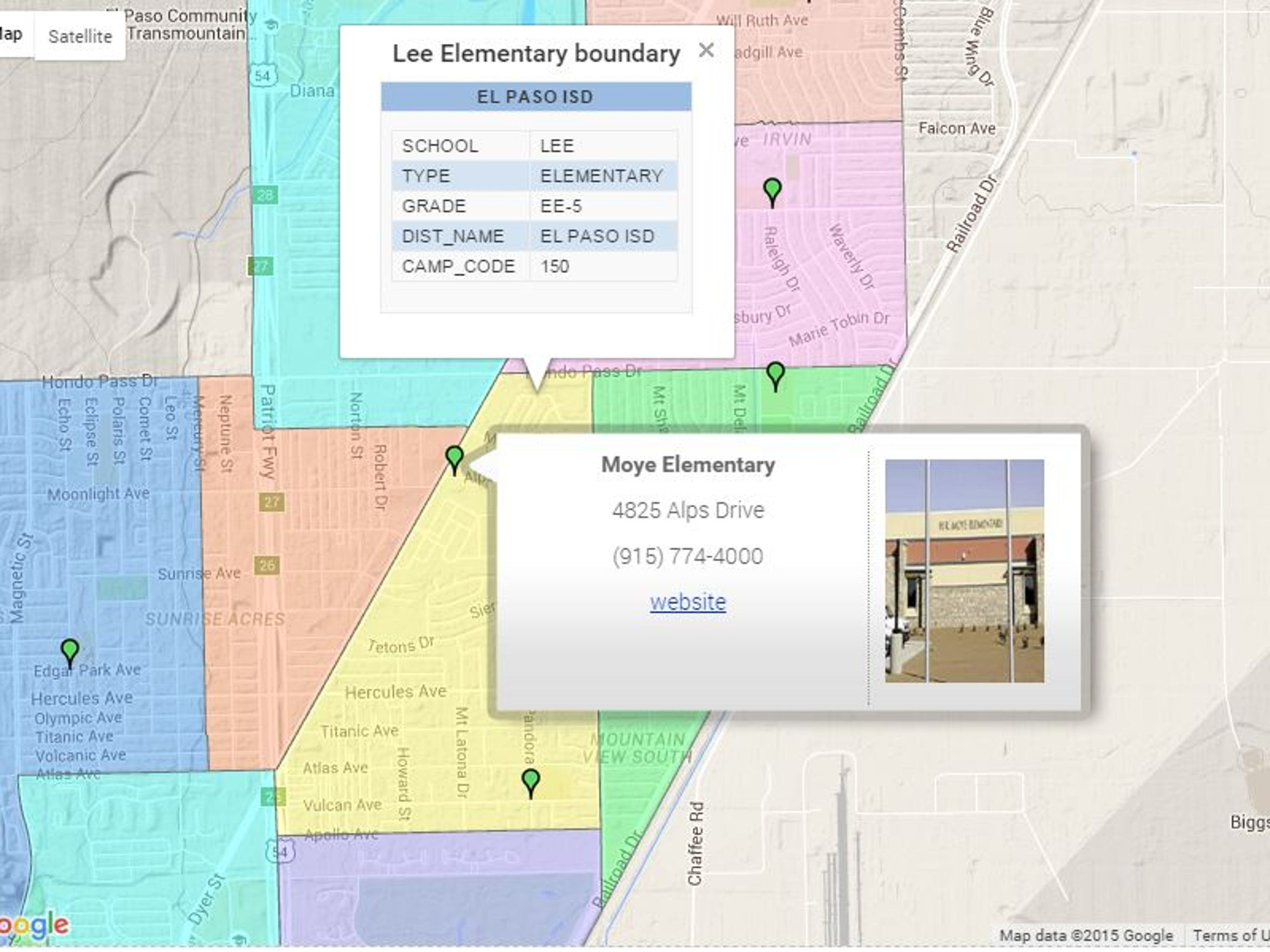 A Google map on the El Paso Independent School District
