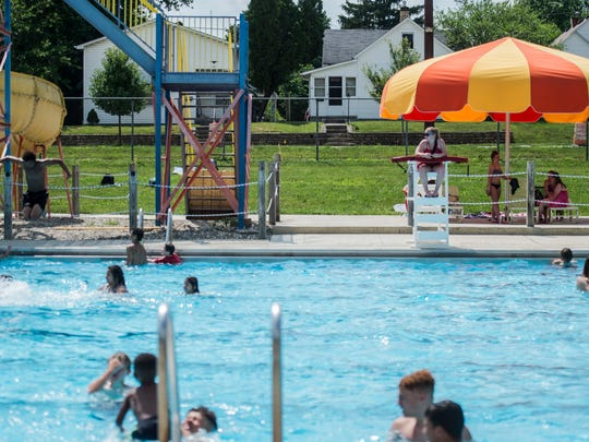 Dozens came out to cool off from the scorching heat during last year's opening day for Cordell Municipal Pool in Richmond on Monday, June 18, 2018.