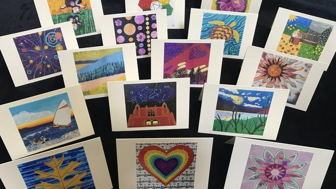 """Cards featuring works from the exhibit are available to donors contributing to the Jimmy Fund. All donations to the """"Squares of Love Fundraiser"""" are directed to the Carol Chaoui Fund for Research on Metastatic Breast Cancer at the Dana-Farber Cancer Institute."""
