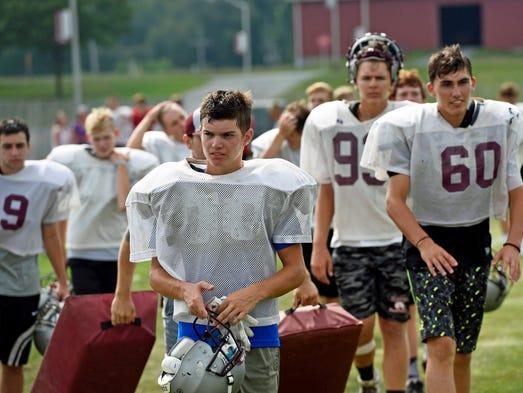 Shippensburg High School football players conduct preseason