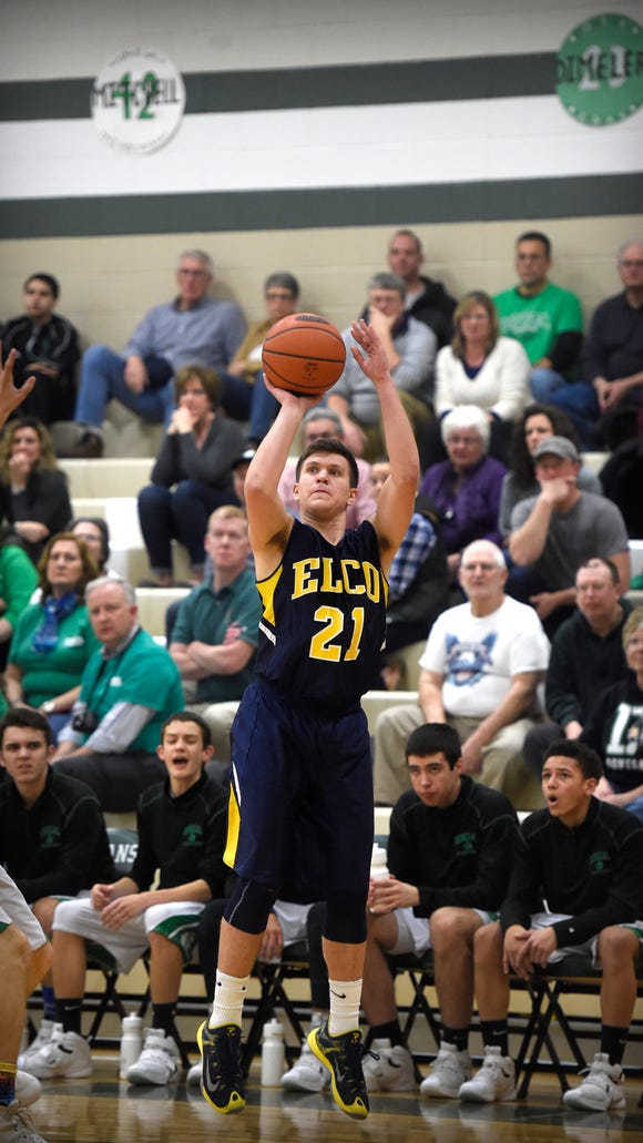 Elco's Caleb Buchmoyer successfully launches and scores a three point shot inthe first half of play against Donegal Tuesday night, Feb. 2.