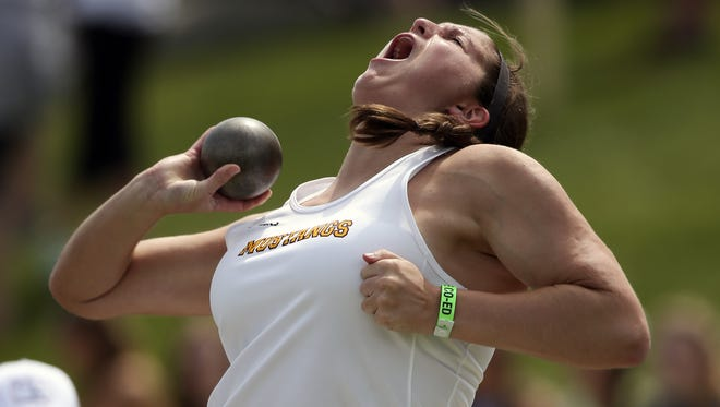Kate Birchmier of Davis County throws in the girls class 2-A shot put at the Iowa High School track and field state championships on Thursday, May 22, 2014, at Drake Stadium in Des Moines, Iowa.