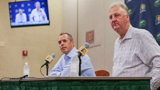 The Indiana Pacers hold a press conference with President of Basketball Operations, Larry Byrd, right, and Head Coach, Frank Vogel.