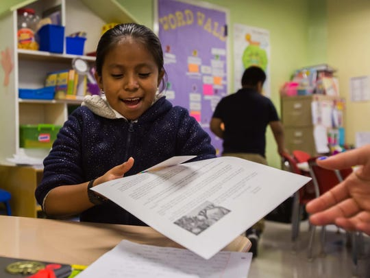 Kaely Perez-Tomas, 10, was thrilled to receive a letter from her pen pal at Immokalee Community School.