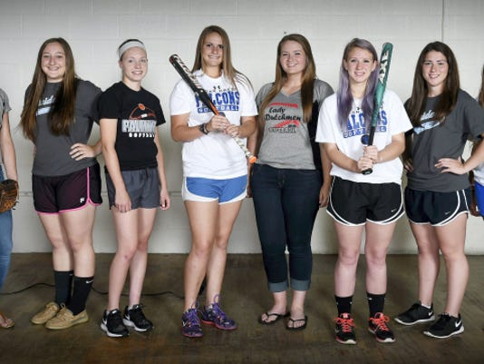 Presenting the 2015 Lebanon Daily News All-County Softball Team. From left, Morgan Zimmerman (Annville-Cleona), Vern Reinhart (Elco), Kayla Bonawitz (Palmyra), Maddie Gable (Cedar Crest), Emma Lerchen, (Annville-Cleona), Anna Debellis (Cedar Crest), Claire Shaak (Elco), and Emma Spang (Cedar Crest). Not pictured are Christy Snyder (Annville-Cleona), Cat Wicker (Palmyra) and Erica Dulac (Northern Lebanon).