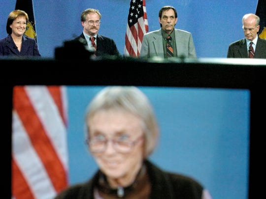 Martha Rainville, Republican , from left, Keith Stern, independent, Jerry Trudell, independent, and Peter Welch, Democrat listen to Liberty Union candidate Jane Newton as her image is seen on a television monitor during a debate for candidates for U.S. House at Vermont Public Television's studio in Colchester on Nov. 5, 2006.