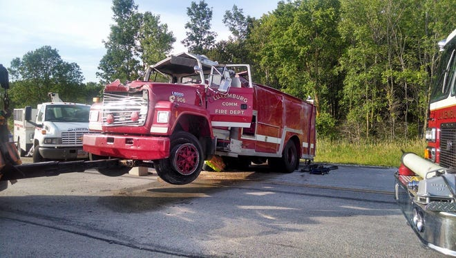 The operator of this Luxemburg fire tender was injured in a one-vehicle rollover while responding to a fire call Wednesday afternoon.